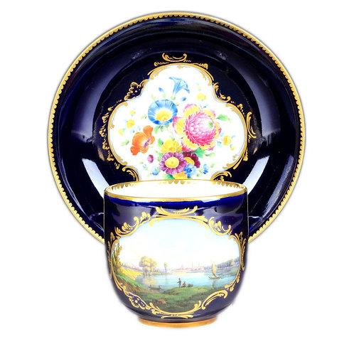 古マイセン 最高峰 ネームドビュー 名勝風景図 ドレスデンの風景 カップ&ソーサー フルコバルト スキャタードフラワー 19世紀 アンティーク 一級品