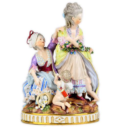 古マイセン 名作 高額人形 フィギュア グループ フィギュリン 壊れた卵 1777年アシエ作 ルイ15世様式大型群像 新古典主義