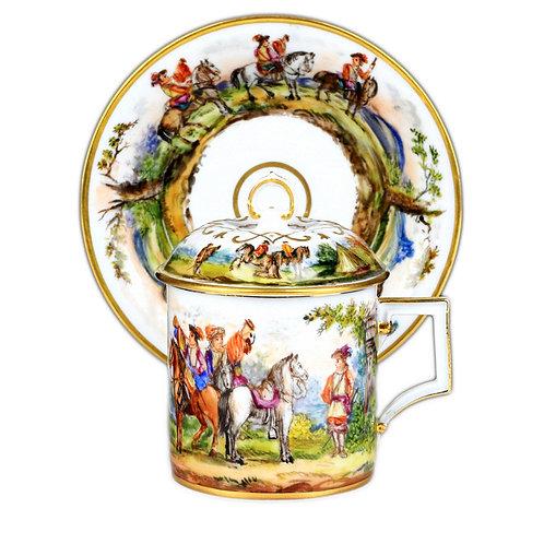 古マイセン 最高峰 特別制作 一点もの ショーピース 蓋付きカップ 狩猟画 全面絵付け 元マイセン磁器ギャラリー所蔵作品 アンティーク