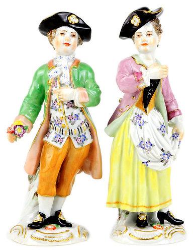 マイセン ペア人形 ガーデナー 花摘みの少年とエプロンの少女