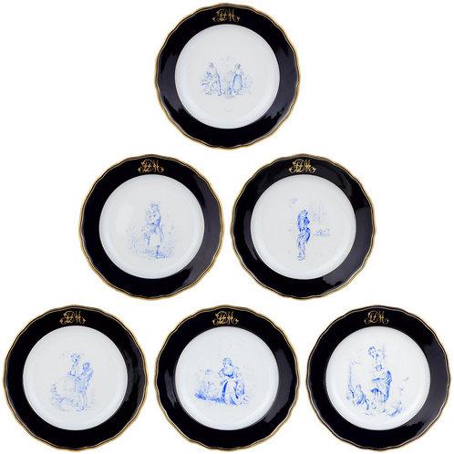 古マイセン 特別制作 一点もの カマイユ コバルト金彩 ディナープレート 6枚セット 1879年制作 アンティーク希少作品 ウニカート
