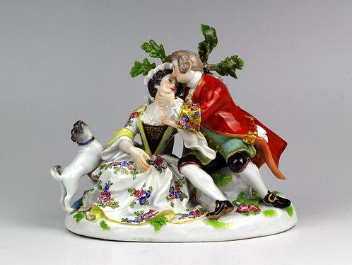 マイセン 人形 フィギュア 恋人達とパグ ケンドラー初期 1745年
