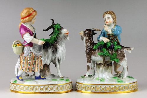 マイセン 人形 フィギュア 山羊を連れた少年と少女 完全ペア名作