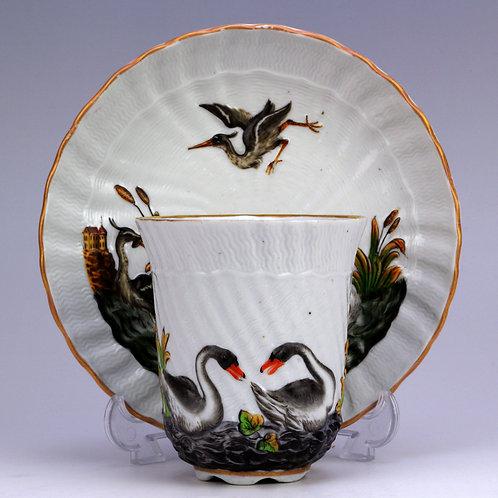 マイセン スワンサービス カポディモンテ ビーカーカップ 19世紀
