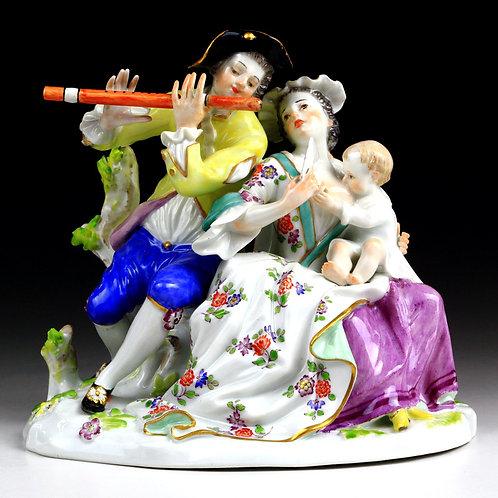 マイセン 人形 フィギュア Music 乳飲み子を抱く母像 幸せな家族