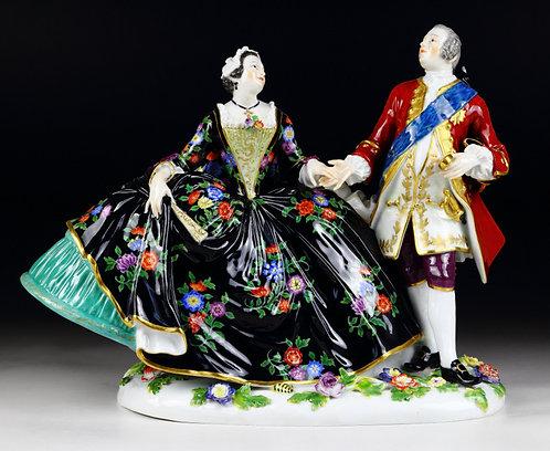 マイセン 人形 フィギュア アウグスト3世とマリア王妃 舞踏会