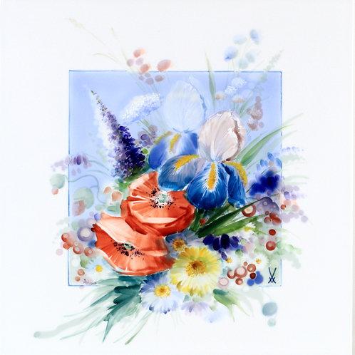 マイセン 芸術作品 ステフェン・ミコッシュ作 大型陶板画 プラーク アイリスとポピーとドイツ野草の花束 ウニカート 一点もの アトリエ作品