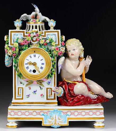 古マイセン 天使と鳩のマントルクロック ケンドラー 1772年 美術館 レア 超高額作品