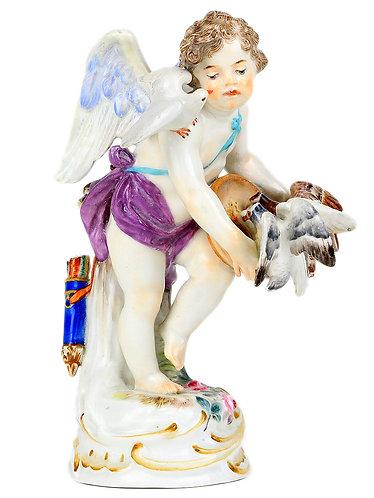古マイセン 人形 フィギュア フィギュリン 天使人形名作 天使と鳩の群像 1898年 ヘルミック作 オリジナル期 希少作品 1級 レア