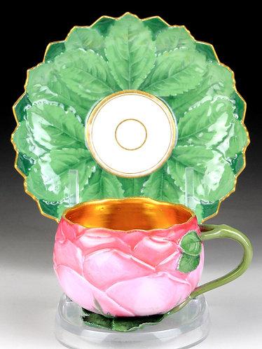 古マイセン 珍品 ローズカップ モールド・レリーフ カップ&ソーサ 19世紀 オリジナル時代 王侯貴族文化 アンティーク レア