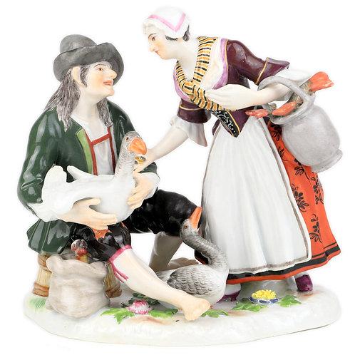 古マイセン 人形 フィギュア フィギュリン ガチョウ飼いと魚壺を持つ婦人 初期ケンドラー原型 1910年 マイセン磁器創立200周年 限定