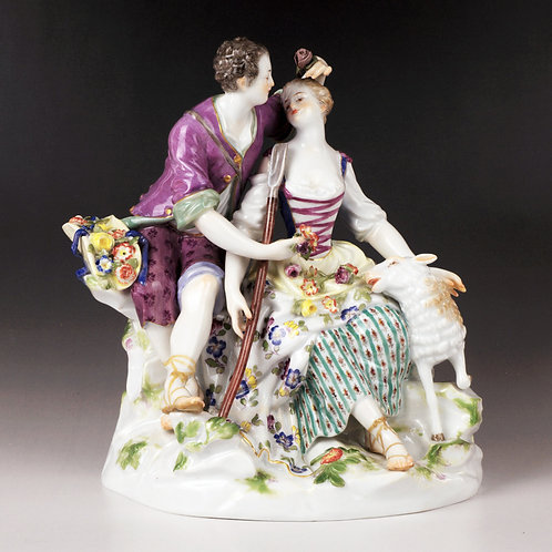 マイセン 人形 フィギュア 羊飼いの恋人達 愛の囁き 1769年 名作