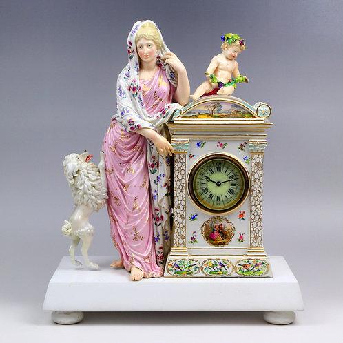 マイセン 天使と女神とプードルのマントルクロック 19世紀 名作