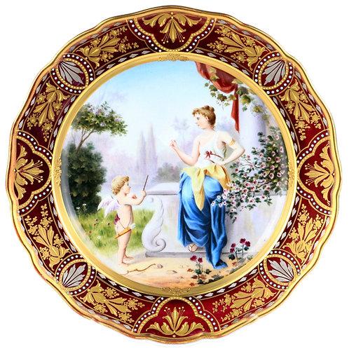 古マイセン 古典 装飾絵皿 Mythologie 神話図 ヴィーナスと天使 名画写し 名画シリーズ系譜 マルーン金彩 アンティーク