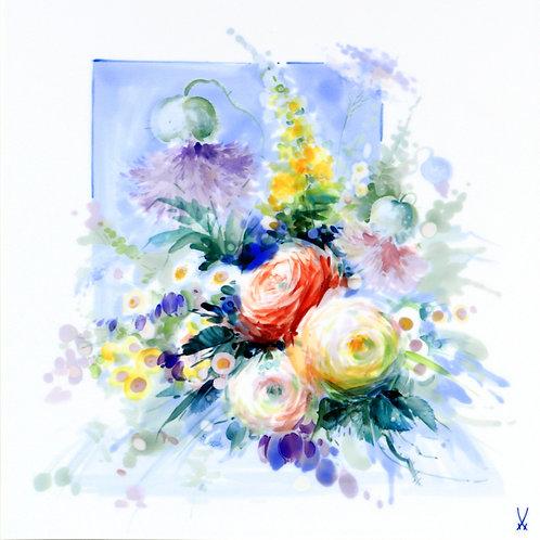 マイセン 芸術作品 ステフェン・ミコッシュ作 大型陶板画 プラーク 薔薇と芥子とドイツ野草の花束 ウニカート 一点もの アトリエ作品