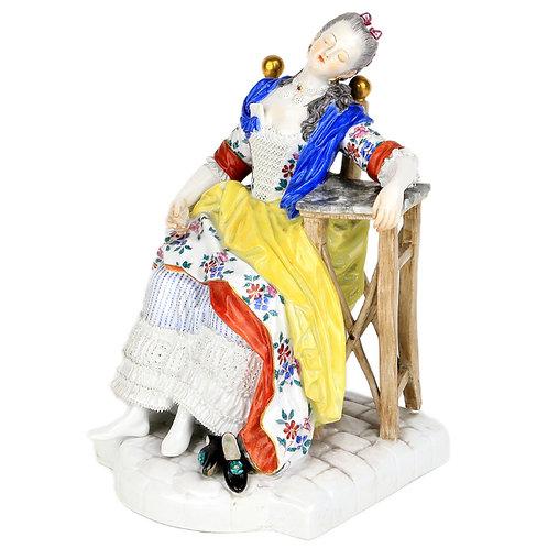 古マイセン 人形 フィギュア フィギュリン うたた寝 初期レースドールタイプ 1774年 アシエ&シェーンハイト原型 新古典主義