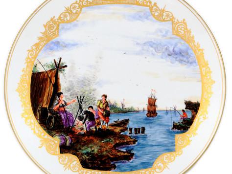 マイセン 古典絵付 装飾絵皿 ヘロルト画 港湾風景海上交易図 旅路の風景 アンティーク デコラティブ プレート 希少 レア作品