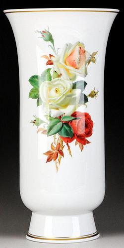 マイセン 最高峰 印象派花絵付巨匠 通称 ブラウンスドルフの薔薇 特大花瓶 一級品 レア