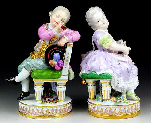 マイセン ペア人形 高額フィギュア さくらんぼと少年 楽譜と少女