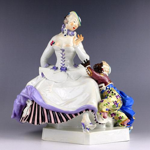 マイセン 人形 フィギュア 貴婦人とムーア少年 ショイリッヒ名作