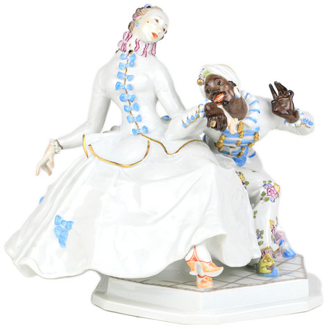 マイセン 人形 ユーゲントシュテール 名作 フィギュア フィギュリン 貴婦人とムーア人 1919年 パウルショイリッヒ 高額作品 パーフェクト