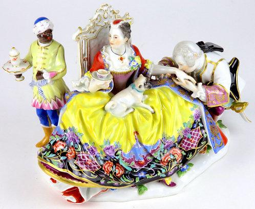 マイセン 大型高額 雅宴人形 フィギュア フィギュリン クリノリンレディーとキャバリエの群像 通称ハンドキス 1737年ケンドラー 最古典作