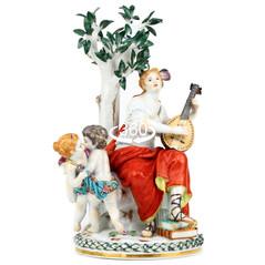 マイセン 人形 フィギュア フィギュリン 神話大作 文芸女神ムーサイの群像 舞踏女神 テルプシコラ 大型 高額作品 限定 完全