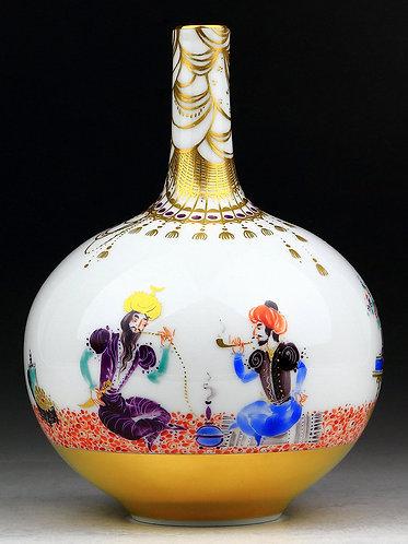 マイセン アラビアンナイト 鶴首花瓶 H・ヴェルナー レア絵 絶版