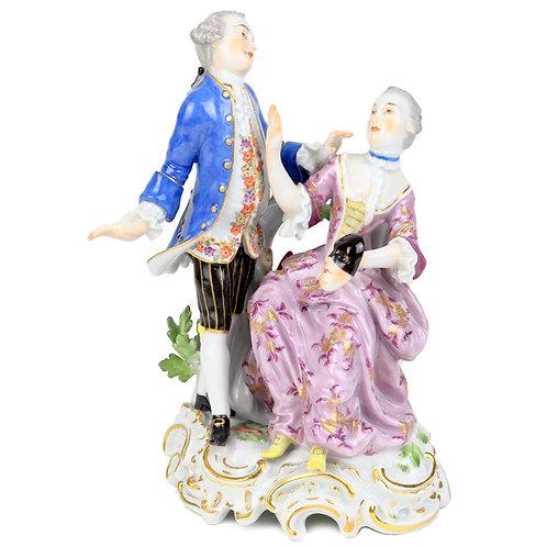 古マイセン ロココ 人形 フィギュア フィギュリン 仮面舞踏会 マスク 1765年 カール・クリストフ・パンク作 スーパーレア