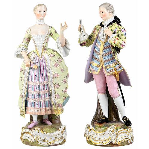 古マイセン人形 最大級 ロココペアフィギュリン「ロココ装束の紳士と淑女」1700年代中期 F.Eメイヤー&リュードリッヒ オリジナル時代