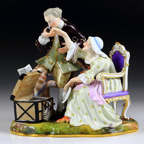 マイセン 高額 人形 老婦と若き恋人 1765年 ケンドラー 風刺作品