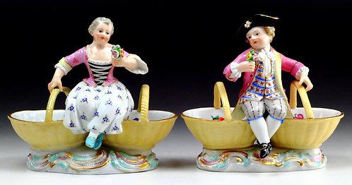 マイセン ペア人形 ボールフィギュア 花籠の少年少女 ライネッケ