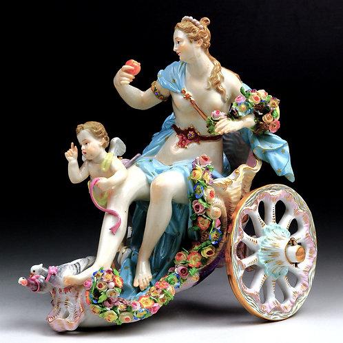 マイセン 人形 高額フィギュア 花馬車上のヴィーナスと天使 神話