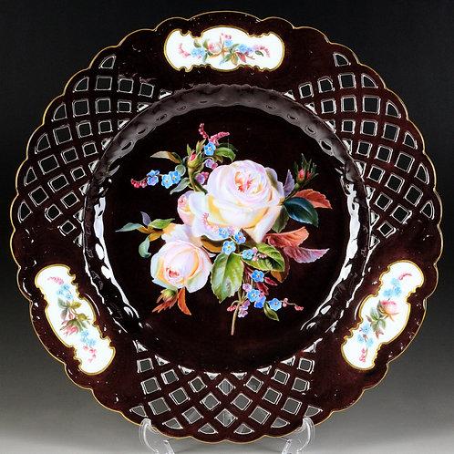 古マイセン 装飾絵皿 最高峰 印象派花絵付巨匠 通称 ブラウンスドルフの薔薇 チョコレート 大型レースプレート 一級品 レア アンティーク