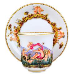 古マイセン カポディモンテ 神話 カップ&ソーサー 浮彫多彩色 19世紀 超希少