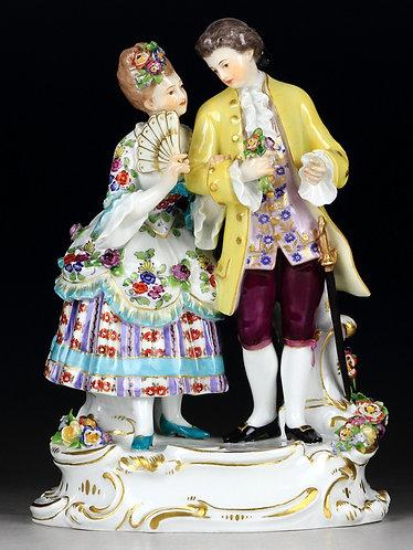 古マイセン ネオ・ロココ 人形 フィギュア フィギュリン 舞踏前 1890年 オーガスト リングラー作 オリジナル時代