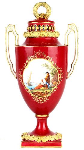 古マイセン 古典 大型 ポプリポット 花瓶 ヘロルト画 港湾風景海上交易図 旅路の風景 マルーン 金彩 アンティーク