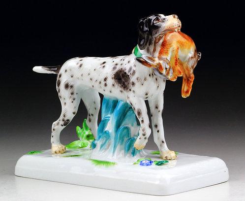 マイセン 犬人形 アールヌーヴォー 狩猟犬 ウォルター作 1915年