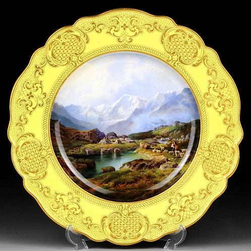 古マイセン 最高峰 ネームドビュー 名勝風景図 グランゼブルの山並みを望む風景図 黄肌 ロココ金彩 飾り皿 アンティーク 参考200万円