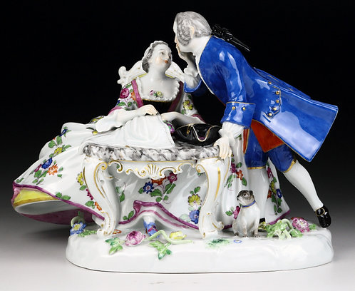 古マイセン 高額人形 大型 フィギュア グループ フィギュリン 刺繍をする淑女と恋人 1880年 クリノリン 限定