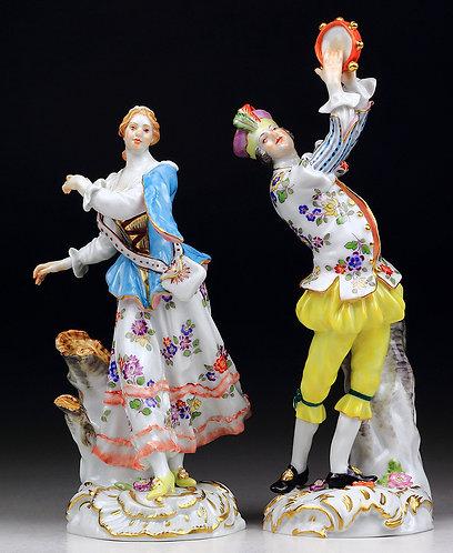 マイセン 高額ペア人形 ダンシングシェファード メイヤー 1752年