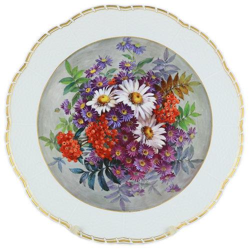マイセン 最高峰 ブラウンスドルフ 特大 印象派花絵付飾皿 オツィエ・レリーフ レア絵柄 特注 一点もの 一級品 自然主義