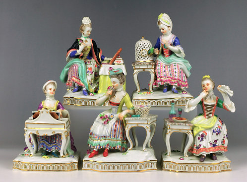 古マイセン 人形 高額フィギュア 五感の寓意 全作揃 19世紀 希少