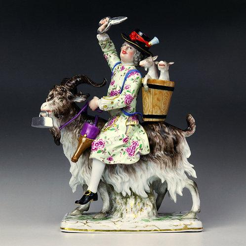 マイセン 人形 高額フィギュリン 「山羊に乗った仕立て屋」