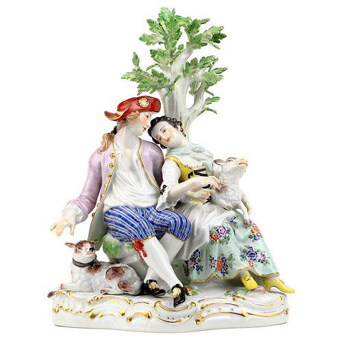 マイセン 古典 高額人形 フィギュア フィギュリン 羊飼いの恋人達 ケンドラー 初期名作 1744年 羊飼いグループの代表作 1級品