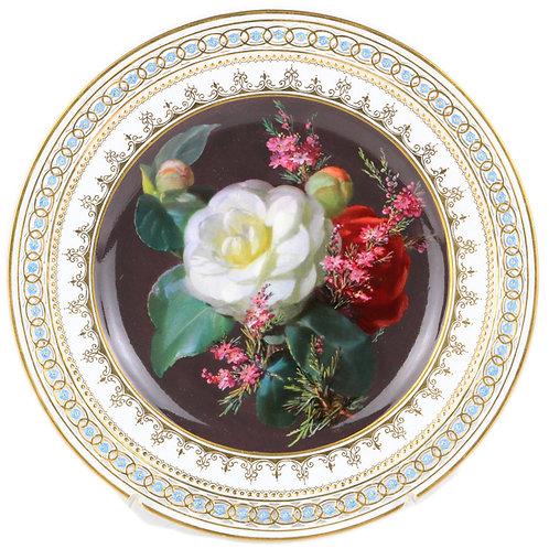 古マイセン 装飾絵皿 最高峰 印象派花絵付巨匠 通称 ブラウンスドルフの薔薇 チョコレート デコラティブプレート 一級品 レア アンティーク