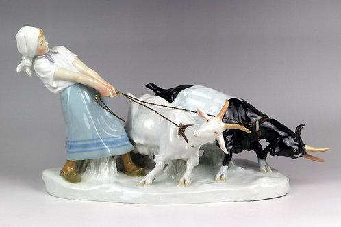 マイセン 人形 フィギュア 山羊と少女 オットーピルツ作 超大型