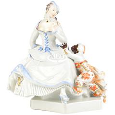 マイセン 人形 ユーゲントシュテール 名作 フィギュア フィギュリン 貴婦人とムーアの子供 1919年 パウルショイリッヒ 特大 パーフェクト