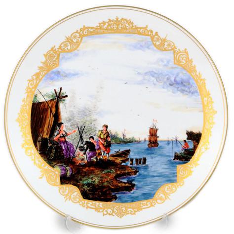 マイセン 古典絵付 装飾絵皿 ヘロルト画 港湾風景海上交易図 旅路の風景 アンテ