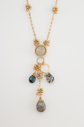 Gold Necklace with Multi-Stone Pendant